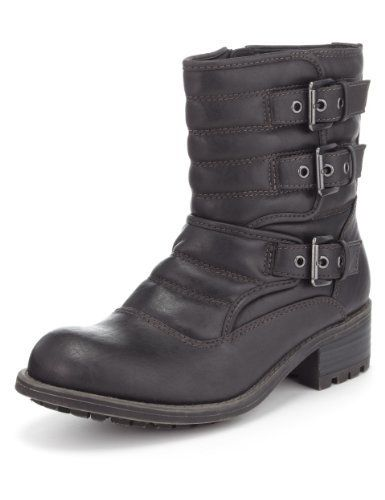 Limited Edition 3 Buckle & Strap Biker Boots with Insolia® - Marks & Spencer