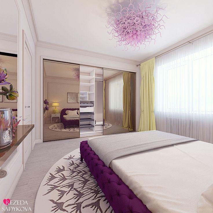 Казань. Дизайн интерьера спальни в современном стиле. Женская спальня. #rezedasadykova #interiordesign #kazandesigner #modernstyle #bedroom #womansbedroom #plumandlemoncolors
