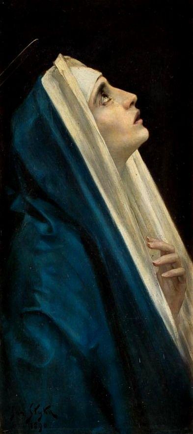 "thepolishstufflove: ""Maria"" (1890) by Jan Styka (Polish,1858 -1925), oil on canvas, 84 x 37,5 cm. [source]"