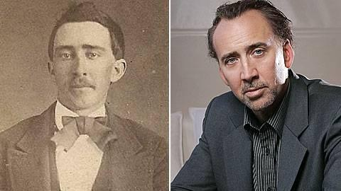 Nicolas Cage ca 1870, and Nicolas Cage now.    I KNEW THERE WAS SOMETHING WRONG WITH HIM!