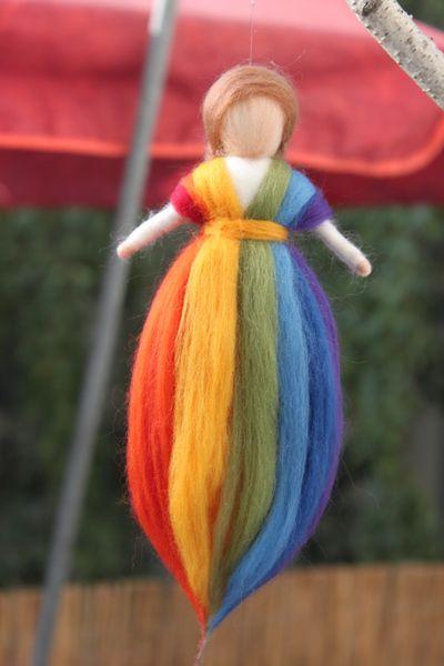Regenbogenfee,Fee, Wollfee, von Jalda auf www.DaWanda.com/Shop/Jalda-Filz #DIY #Kinderzimmer #Waldorfart #Deko #Kinder