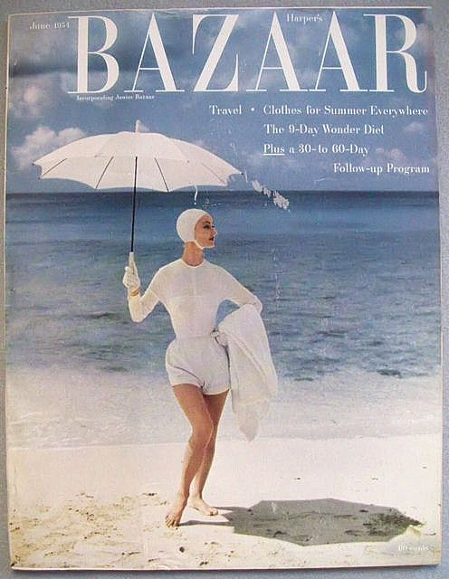 50s model Evelyn Tripp in swimsuit on cover of June 1954 Bazaar