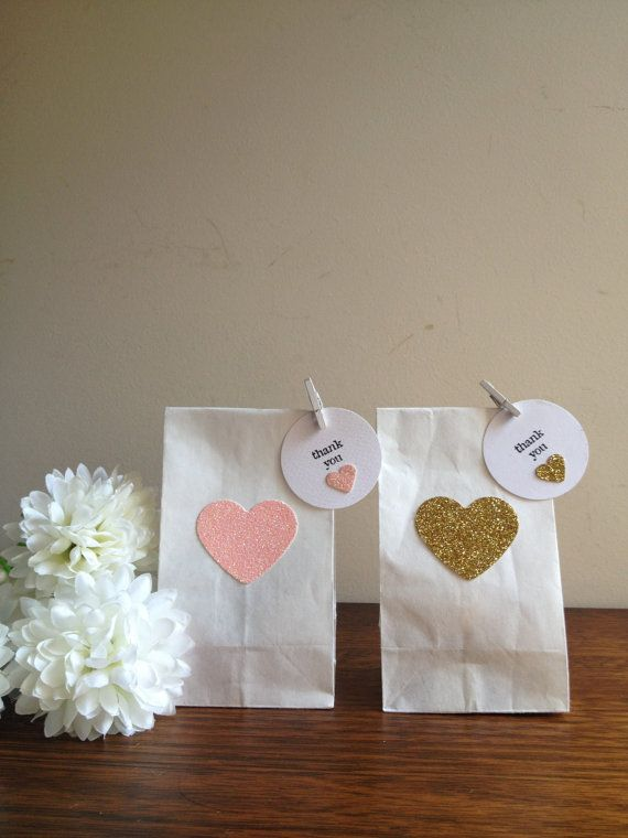 Pink and gold glitter heart lolly/candy/gift/favor bags with wooden peg and matching tag - set of 10 on Etsy, $13.50 AUD