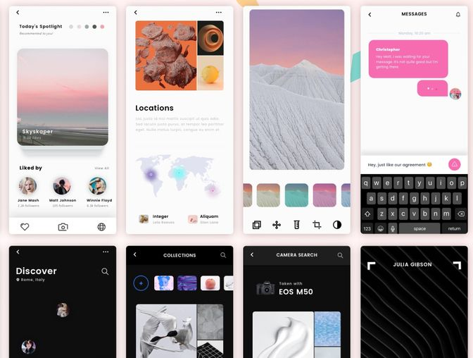 Luna Photo App UI Kit Customizable iPhone XS iOS Photo App