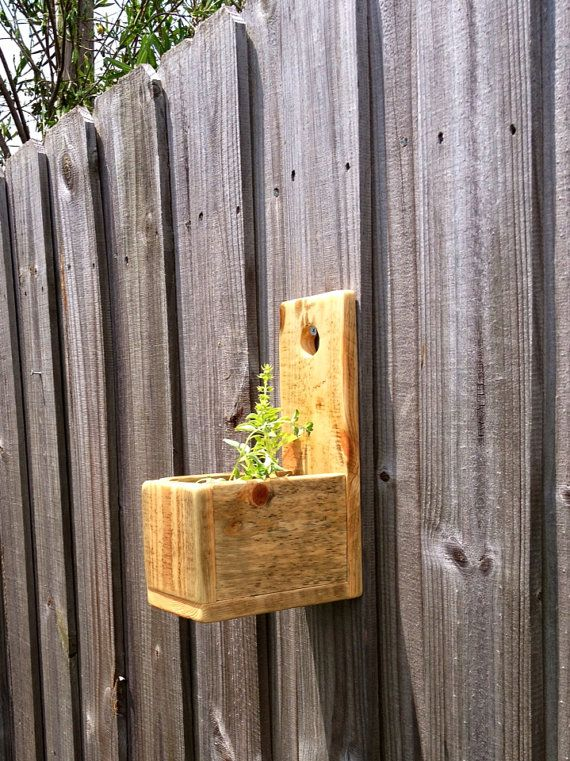 Reclaimed Pallet Wood Small Rustic Wall Hanging Herb Planter