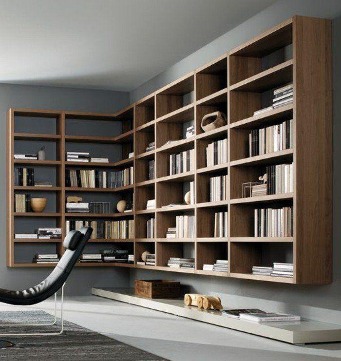 Etagere Bibliotheque En Bois Fonce Pour Le Salon Chic Bureaux A
