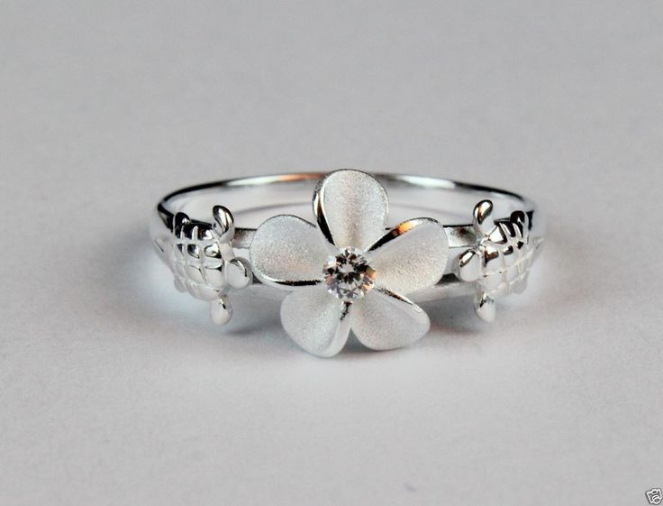 925 Sterling Silver Hawaiian Hibiscus Plumeria Ring Sea Turtle CZ Band Shiny #Unbranded #Band