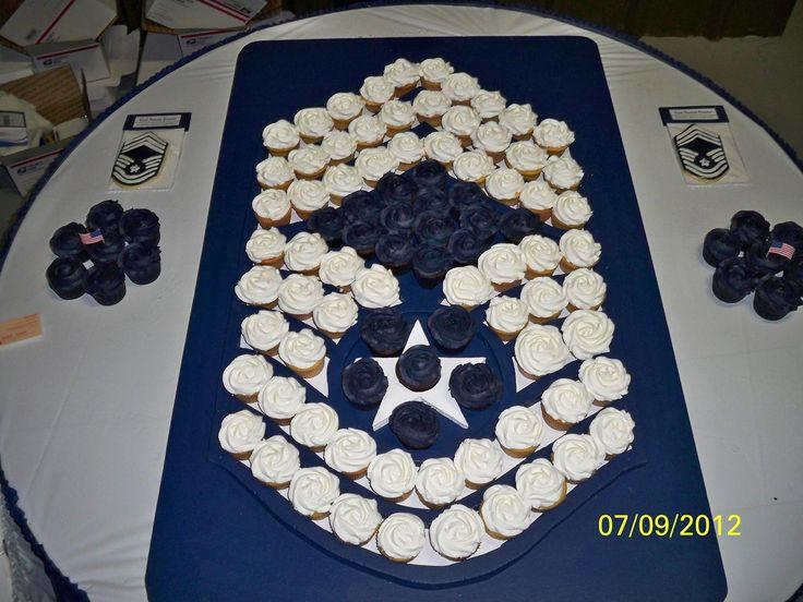 Cupakes made to look like rank. I'd do Tech Sergeant instead.