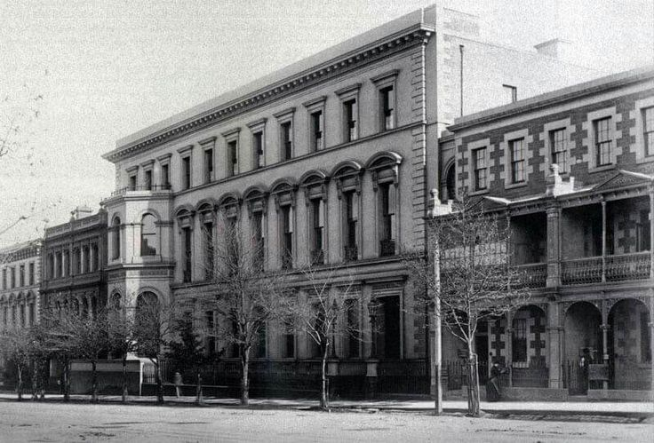 The Melbourne Club at 36 Collins St,Melbourne in Victoria in 1877. It was established on Saturday 17 December 1838.