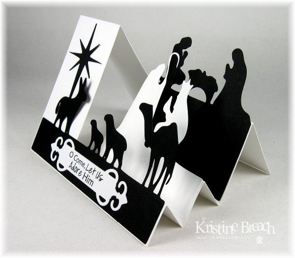 Black-n-White Side Step Nativity ~ Side View by KristineB - Cards and Paper Crafts at Splitcoaststampers