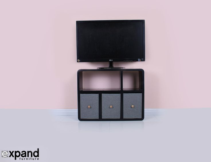 Our slim TV stand is perfect for modern thin televisions! This sleek modular TV stand is lightweight, easy to assemble and available in black and white finish!
