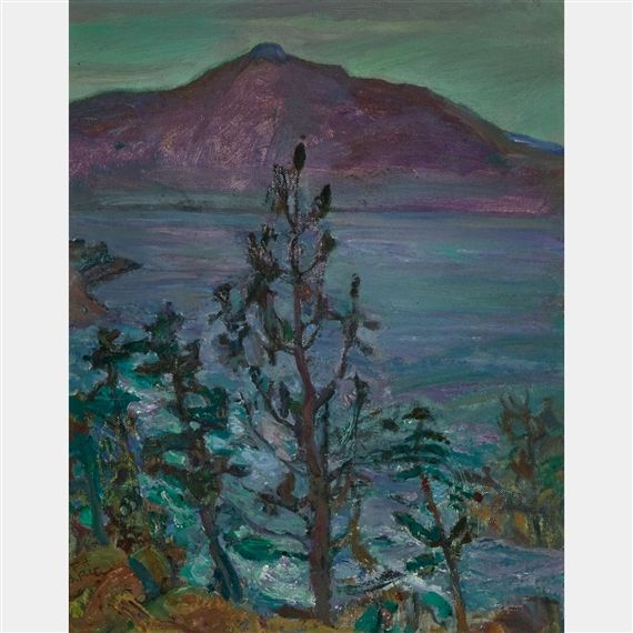 Frederick Varley - Kootenay Lake B.C. 15 x 12 Oil on canvas board