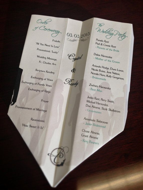 Paper Airplane Wedding ProgramsDesigned by PardonMyDesign on Etsy