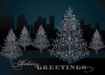 105 best holiday business cards images on pinterest christmas glistening city park trees holiday greeting card the fancy envelope colourmoves