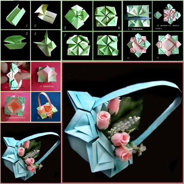 #DIY Origami Paper Basket   DIY Steps: http://theideaking.blogspot.com/2014/04/diy-origami-paper-basket.html