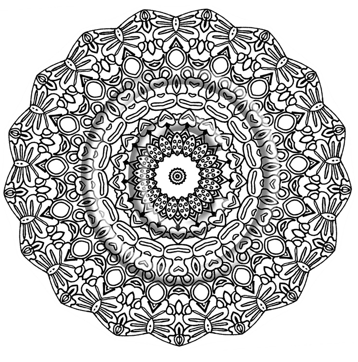 Printable Download Coloring Page Hand Drawn Zentangle
