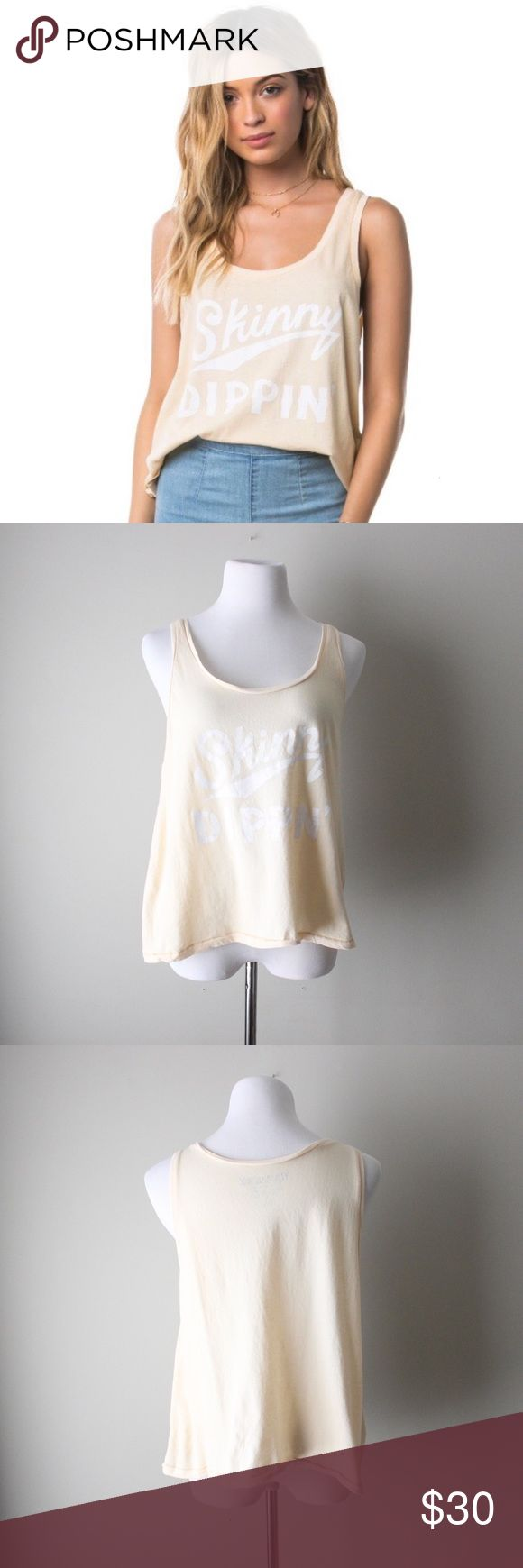 "Skinny Dippin Graphic Sleeveless Tank Top Adorable Amuse Society tank top in a light pink color with contrasting white 'Skinny Dippin' writing. In excellent gently used condition.   Bust: 21"" Length: 23"" Size: Medium  All orders ship next business day! Amuse Society Tops Tank Tops"