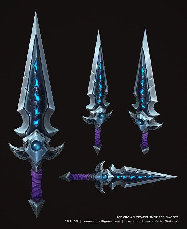 Ice Crown Citadel Inspired Dagger, Yili Tan on ArtStation at https://www.artstation.com/artwork/ice-crown-citadel-inspired-dagger