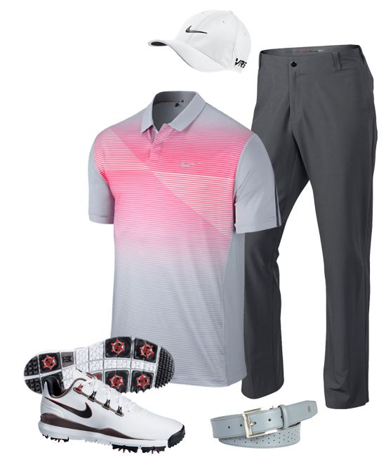 Tiger Woods looks sharp in his pink and grey outfit on Saturday at the 2014 Open Championship.  Now you can too!
