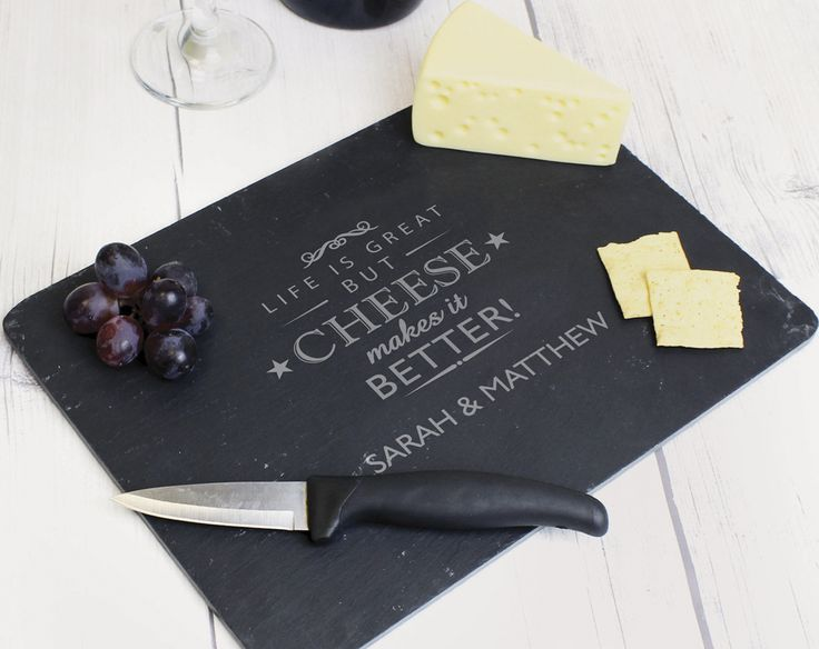 Personalised Slate Cheese Board £20 Unique hand cut slate board made more unique by your own choice of name, text or message. Sturdy slate ideal for cutting and serving cheese. What would be on your perfect cheese board? KLife Kleeneze