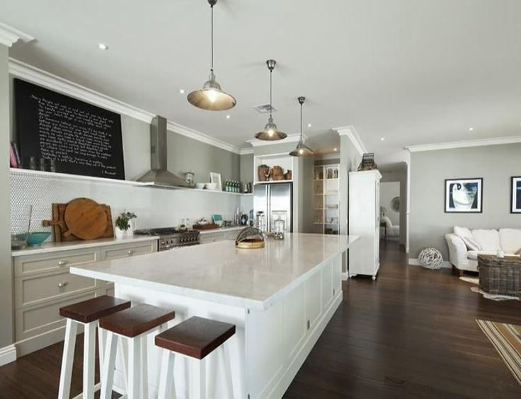 A White Weatherboard By The Beach Would You Like To Live Here Warm Grey WallsHouse Interior DesignKitchen