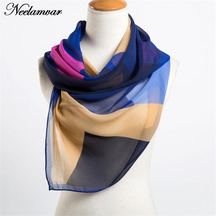 new 2017  spring and autumn chiffon women  scarf  geometric pattern design long soft silk shawl 160*50cm