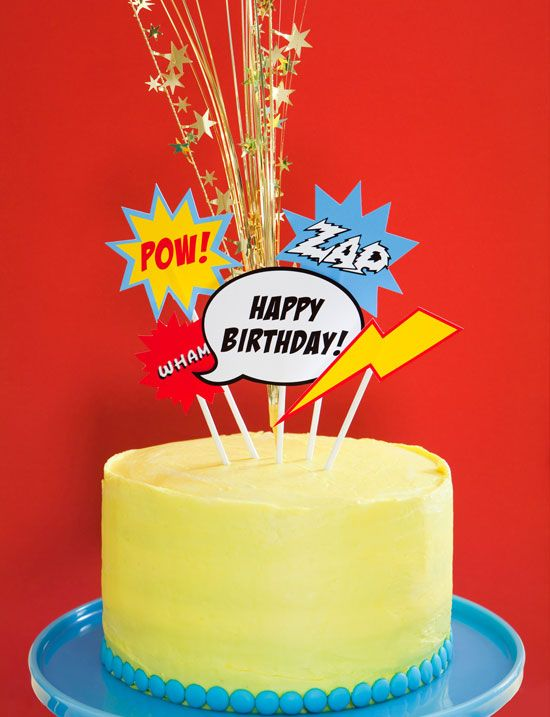 This Superhero Party is full of fun for everyone. But best of all, we've made it easy for you. Check out how simple it is to turn a plain cake into a party cake in minutes. And that means more time to spend with the birthday kid. (These cake toppers are included in our Superhero Party plan.)