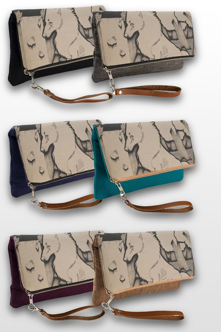 """Across the River"" Illustrated Wolf Clutch Bag, available in 6 different colors.  #wolf_products #sepia #wolf_art #illustration #pen_drawing #for_sale #cute"