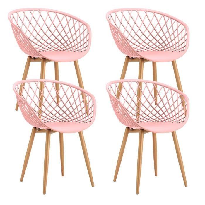 Lot De 4 Chaises Scandinaves Tango 57x63xh81cm Rose Chaise Scandinave Chaise 4 Chaises