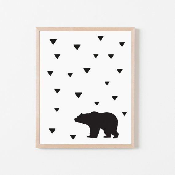 Bear Printable, Illustration, Nursery Print, Children's Print, Kids Print, Nursery Decor, Instant Download, Digital Print, Scandinavian Art