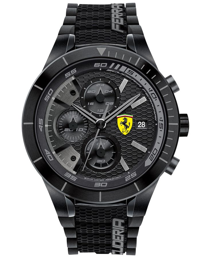 Scuderia Ferrari Men's Chronograph RedRev Evo Black Silicone Strap Watch 46mm 0830262 - Men's Watches - Jewelry & Watches - Macy's