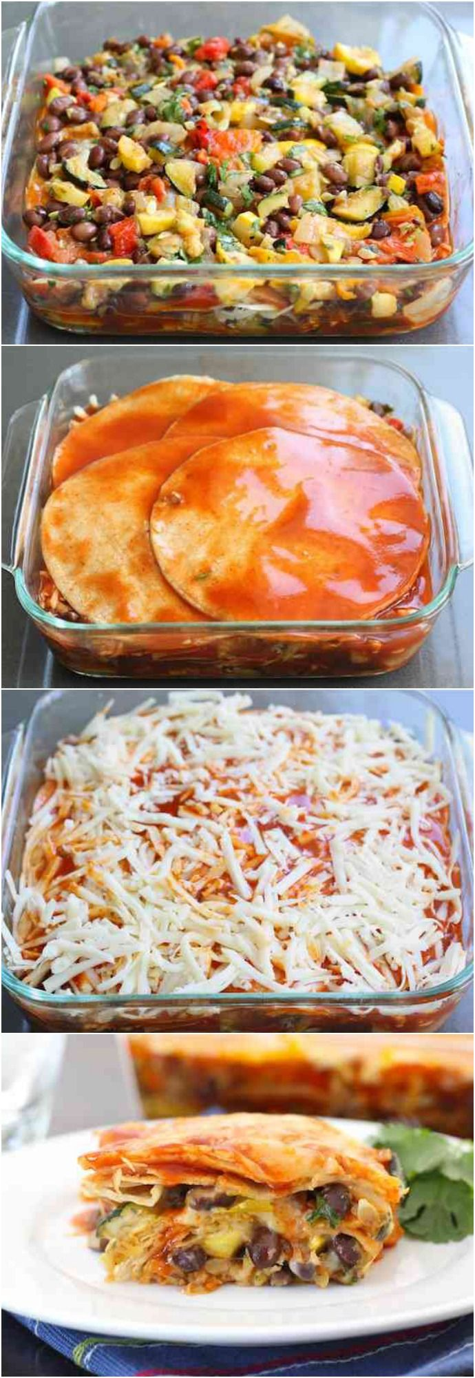 Stacked Roasted Vegetable Enchiladas Recipe on twopeasandtheirpod.com. Love these easy enchiladas. They freeze well too! #vegetarian - add meat
