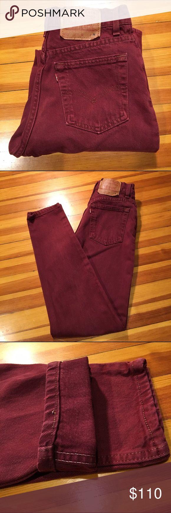 "Vintage 512 Levi's -Levi's 512 * High rise * Slim fit * Tapered leg * Vintage 2"" coin pocket * Selvedge stitch * Burgundy wine color Levi's Jeans"