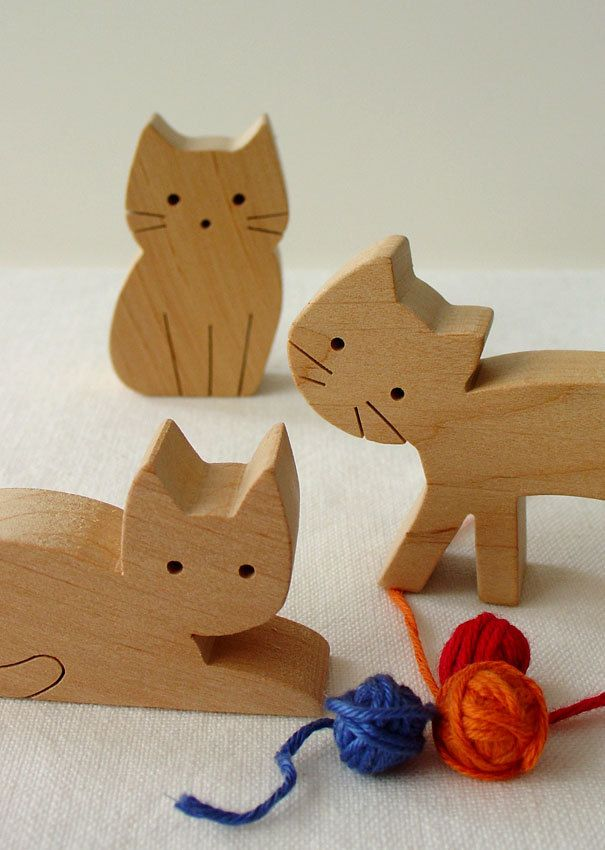 Wooden toy set - girl and cats - waldorf natural wood toy - eco friendly. $32.00, via Etsy.