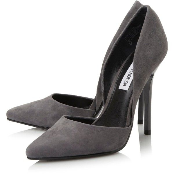 Steve Madden Varcityy pointed toe court shoes ❤ liked on Polyvore featuring shoes, pumps, pointy toe shoes, light grey shoes, light grey pumps, pointed-toe pumps and steve madden