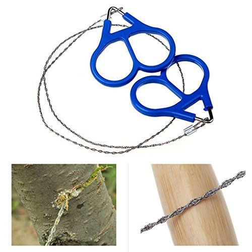 Stainless Steel Chain Saw Bushcraft Hunting Camping EDC Emergency Outdoor Survival Tool Blue Handle Portable  100% brand new and high quality!!  Flexible and lightweight, easy to carry.  With sawtooth and two rings.  Can be used for cutting wood, plastic, bone, rubber and soft metal.  Suitable for hunter, fisher, explorer, emergency, other outdoor activities & family use, etc.