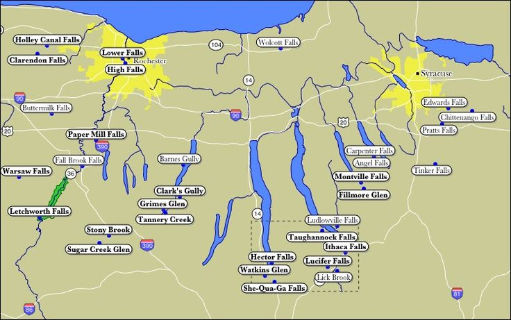 Map of WaterFalls of the Finger Lakes