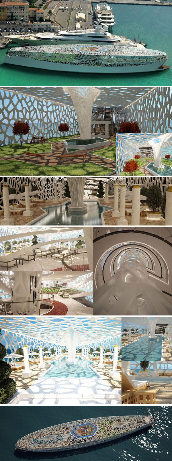 Voronoi the Algorithmic Design Floating Mega-Yacht Paradise concept by Hyun-Seok Kim
