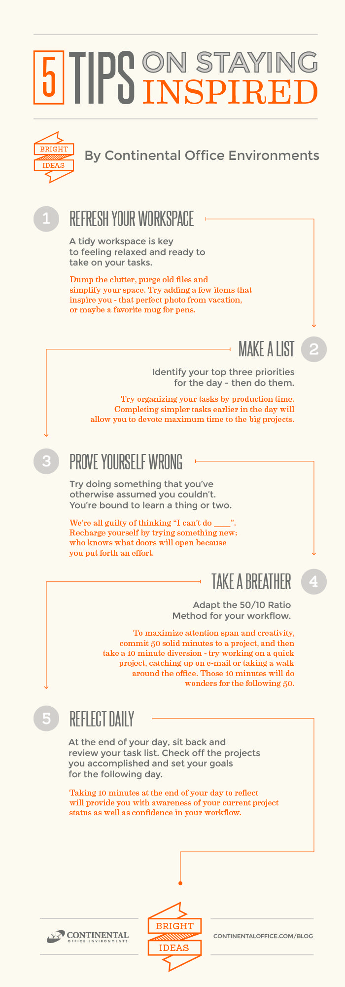Top tips to staying stress free in the workplace infographic - 5 Tips On Staying Inspired At Work Www Continentaloffice Com Blog Infographic