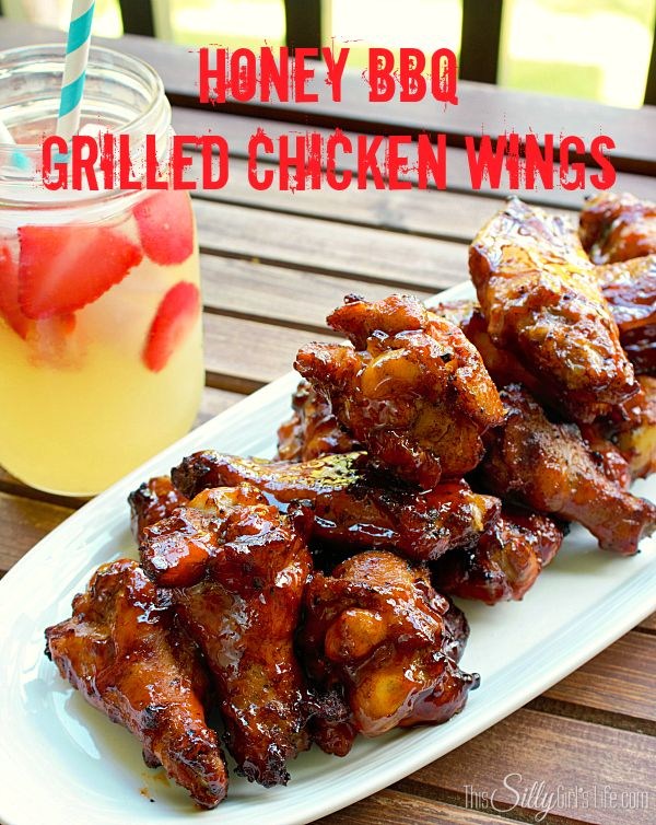 Ad: Honey BBQ Grilled Chicken Wings, smokey wings grilled and basted in a sticky homemade sweet honey bbq sauce #whatsgrillin