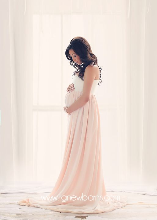 Miley Gown - Three Panel Flowing Chiffon Ombre Option Maternity Gown