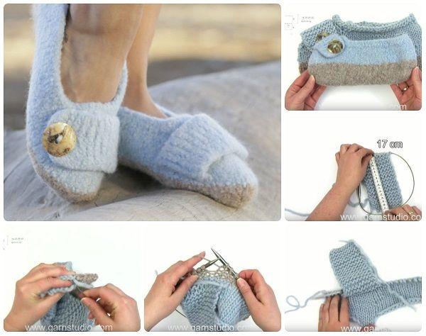 Spiegazioni in italiano e video tutorial per fare pantofole a maglia.