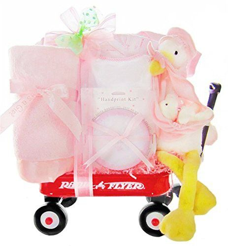 Stork Delivery Baby Girl Gift Set in a Miniature Radio Flyer Wagon