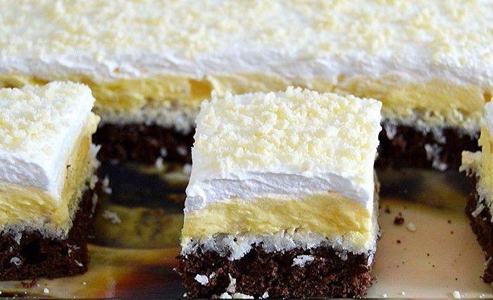 Kokosový zákusek s vanilkovým krémem | NejRecept.cz
