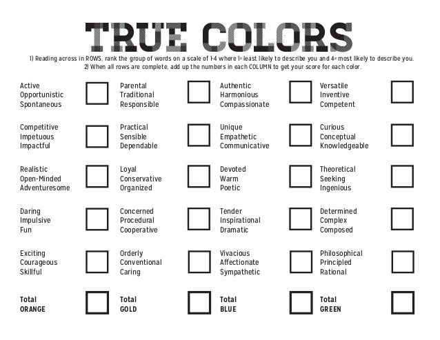 True Colors  1) Reading across in ROWS, rank the group of words on a scale of 1-4 where 1= least likely to describe you an...