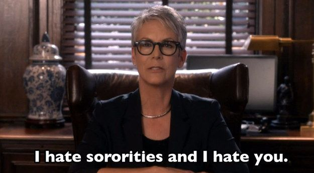 "When Dean Munsch was upfront with her feelings about Chanel Oberlin and her sorority. | 16 Killer ""Scream Queens"" Premiere Quotes That Will Get You Hooked"
