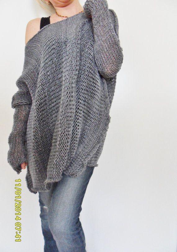 Oversize Women cotton  chunky knit sweater Bulky/slouchy/loose sweater. Oversized knit sweater. .