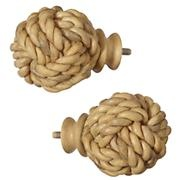 Curtain Accessories: Curtain Rod Roped Ball Finials in Curtains  If he has a nautical room