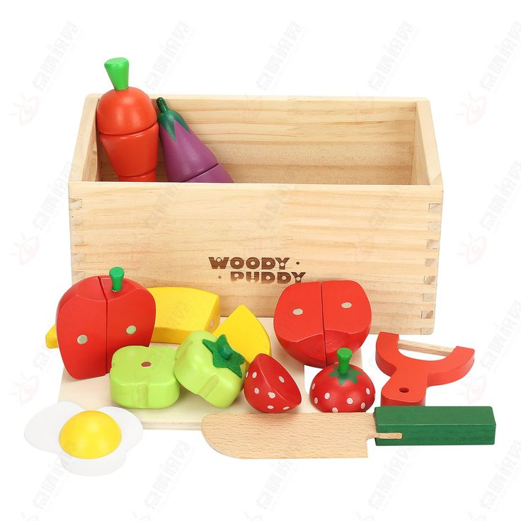 Wooden Cutting Food Set-Pretend Kitchen Toy 11PCS Magnetic Cutting Fruit Vegetable Play Toy for Kids