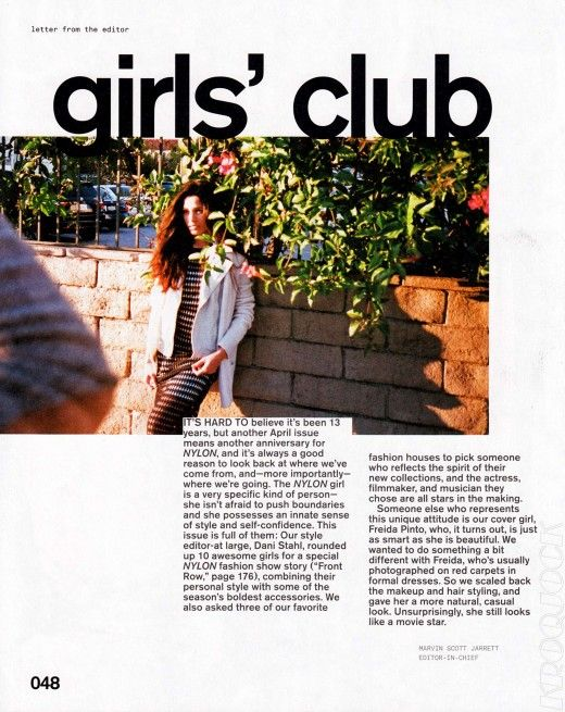 On Nylon there's a confidence that comes across in her eyes. All Nylon girls should have that! Check the spread below (includes the letter from the editor).